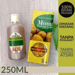 Minyak Kemiri Bakar MOMARA ukuran 250ml Untuk Rambut Rontok dan Kebotakan | Penumbuh Rambut Alami