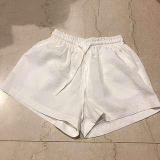 🚚 Pazzo鬆緊棉麻白色短褲