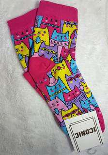 Iconic Socks Pink Cat/Kitten Design for Ladies