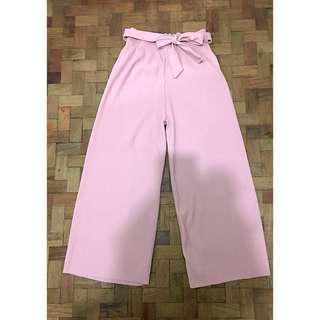 Women's High Waist Pleated Loose Pants with Belt (Dusty Pink)
