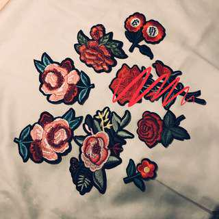 BRAND NEW floral iron on embroidery patches