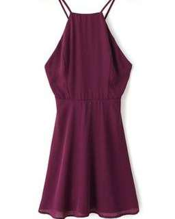 crisscross spagetti dress(wine colour)
