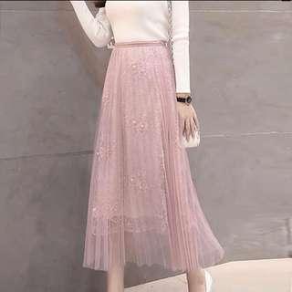 Chiffon maxi tulle skirt