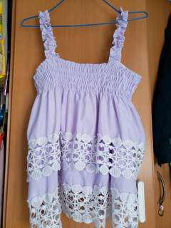 韓款粉紫吊帶蕾絲背心