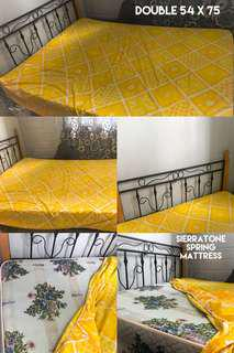 Iron bed frame and spring mattress for sale (54x75)