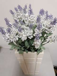 Artificial lavender with white wooden pot