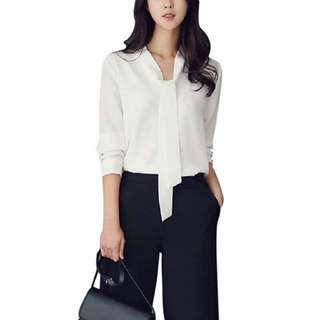 Formal Top Blouse with Front Ribbon