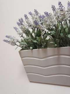 Artificial lavender wall hanging white wooden pot