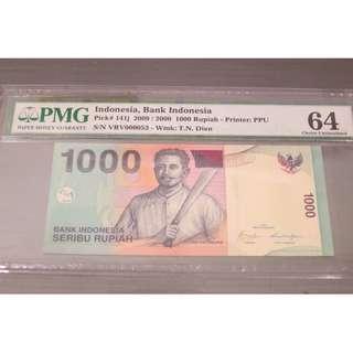 Bank Indonesia 1000 Rupiah 2009 PMG 64 EPQ P-141j Low Serial VRV000053