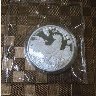 2017 China Lunar Rooster Panda 2oz Silver High Relief Medal Shenyang Mint