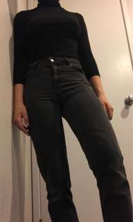 GLASSONS SPACE GREY MOM JEANS SIZE 8