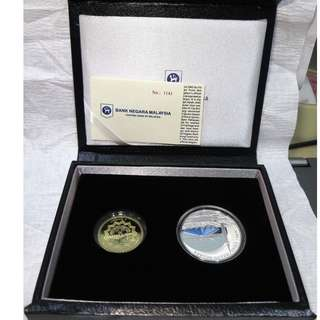 2015 MALAYSIA 50th Anniversary of Masjid Negara SILVER PROOF COIN SET OF 2