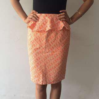 Orange batik peplum pencil skirt rok batik preloved murah