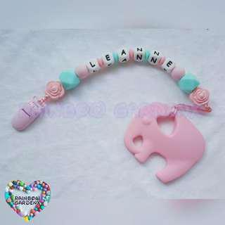 Handmade Customized Pacifier Clip with letter beads + Pastel Pink Elephant Teether