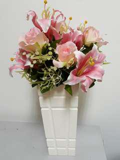 Artificial Roses and lily bouquet with with wooden pot