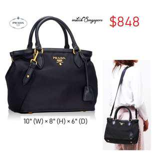 1aa9442ef1ab READY STOCK authentic new Prada 1BA172 Tessuto Nylon Convertible Satchel  Bag- Black