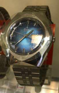 Aroma藍色菱形機械錶