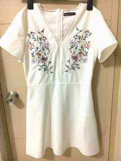 Something Borrowed White Embroidered Floral Dress