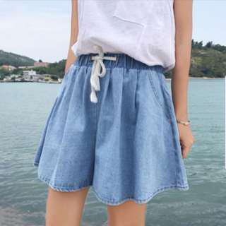 Tumblr basic korean denim paperbag shorts