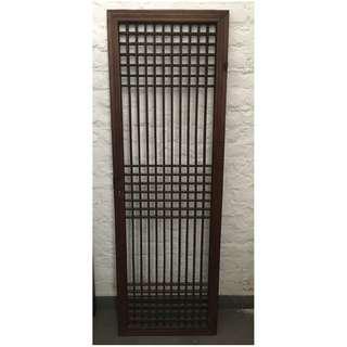Antique Chinese Wood Lattice Screen Door Panel