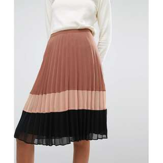 Miss Selfridge Colour Block Pleated Chiffon Skirt UK10