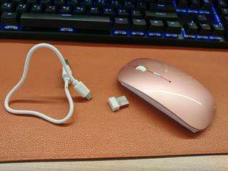 粉紅色 全新無線mouse 2.4G USB . 充電