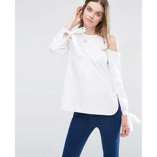 ASOS Cold Shoulder Top in Cotton with Tie Cuff Detail UK8