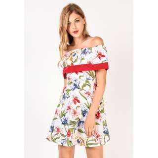 Dressabelle Printed Double Layered Off Shoulder Dress (White Floral)