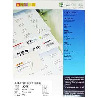 ANEOS Label A3001 : 64.5 x 91.0 mm, 一開9格, 每盒900個