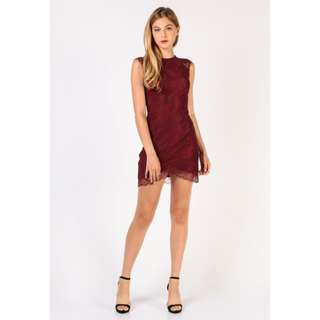 Dressabelle Lace Bodycon Dress (Maroon)