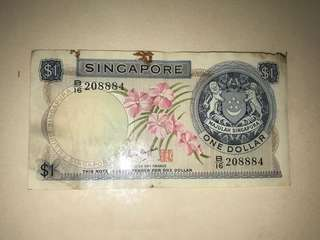 RARE 888 Singapore Old Orchid Series $1 Banknote Note Signed by Goh Keng Swee