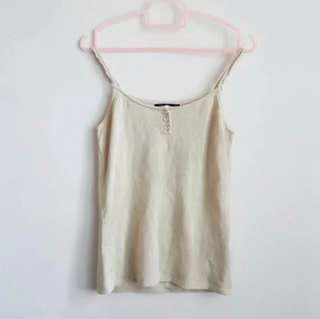 Sleeveless Tank Top Khaki-Light Brown