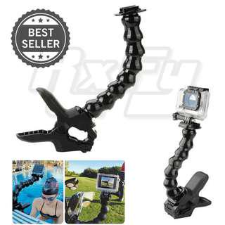 Fixed Universal Adjustable Jaws Flex Clamp Mount with Gooseneck Snake Arm for Action Camera GoPro SJcam Xiaomi Yi valore Camcorder phone holder iphone