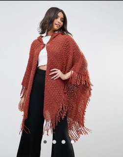 QED London Fringe Cape poncho