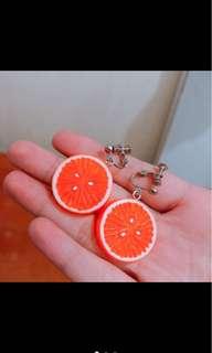 🚚 可愛夏天水果柳橙造型耳環(夾式