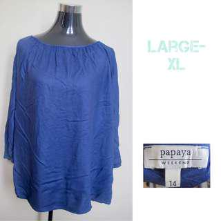 Blue Longsleeve Office Blouse