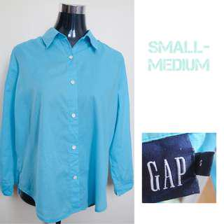 Blue Longsleeves Office Blouse