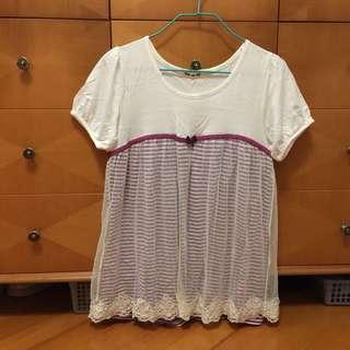 蕾絲白色短袖t shirt斯文返工衫