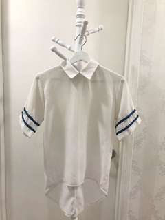 White Blouse with blue strips details