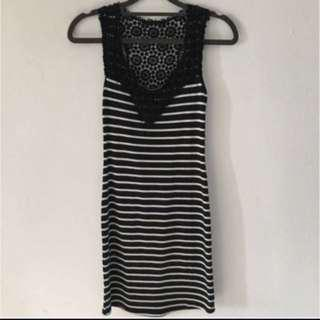 Clearing Wore Once Lace Stripes Bodycon Dress