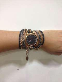 printed leather & chain wrap watch