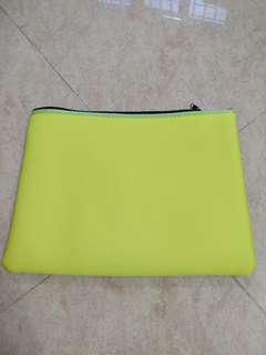 Neon Yellow Neoprene Pouch can put A4 papers