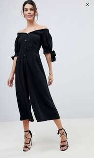 ASOS Tea Jumpsuit with Off Shoulder Detail and Tie Sleeve