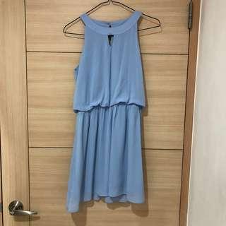 🚚 全新air space 削肩顯瘦水藍色雪紡洋裝(婚禮/渡假穿搭)