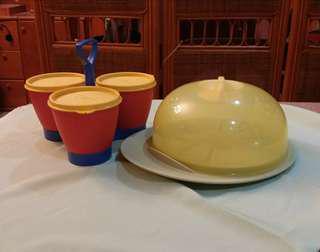 Tupperware Cake Server & Condimate Set