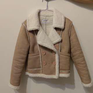 歐美駝色麂皮大衣外套 鹿皮 大翻領外套 羔羊毛 coat jacket