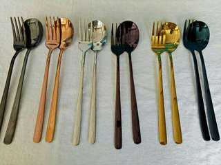 Stainless Steel Colorful Spoon and Fork