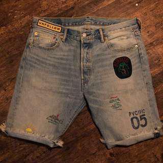Levis 501 短牛仔褲 刺繡 w34