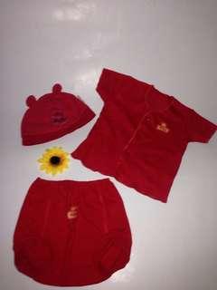 Set Baju Baby Red