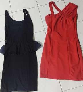 LHASA DRESS RED FITTED DRESS & BLACK PELPUM DRESS